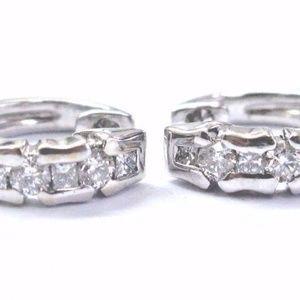 18Kt Round & Princess Cut Diamond White Gold Hoop